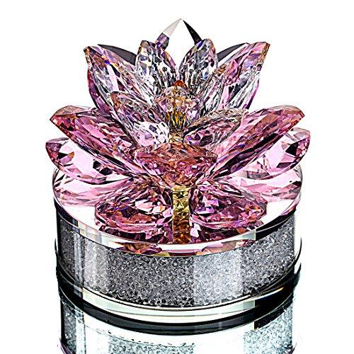 Lotus Flower Ornament Glas Briefbeschwerer mit Geschenkbox für Heimtextilien-3.4inch (Pink) ()