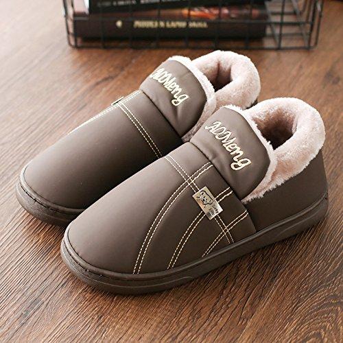 DogHaccd pantofole,Pelle pu cotone pantofole uomini home inverno camera da letto con lussuosi di spessore resistente all'acqua anti-slittamento pacchetto caldo con un paio di scarpe di cotone di donne Il caffè2