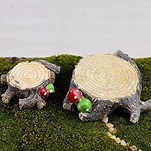 Welecom Figura decorativa, 30estilos, adorno artesanal de maceta, jardín de hadas en miniatura, decoración para el hogar o al aire libre, 1 pc Stump Micro(L)0.59*2.36inch