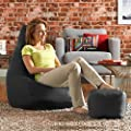 Hi-BagZ® Bean Bag Chair & Matching Footstool Combo - 100% Easy Care Indoor Outdoor High Back Bean Bags - cheap UK light store.