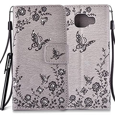 BtDuck Leather Case for Samsung Galaxy A3 2016 SM - A310 inch Stand Embossed Gray Butterfly Rose Foliage Leaves Phone Protector PU Leather Flip Folio Bling Bling Cover Anti-slip Skin Outdoor Protection Simple Strict Shockproof Heavy Duty Robust Bumper Case Shell with Stander Oyster Card ( Travel Card Bus Pass)Holder Slots Pocket Kickstand Function Magnetic Closure Sparkling Rhinestones + 1 * Black Stylus Pen Black