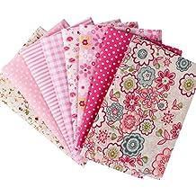 Tela de algodón de patchwork y manualidades serie caliente rosado Pequeña pieza de tamaño 24x24cm en color rosado