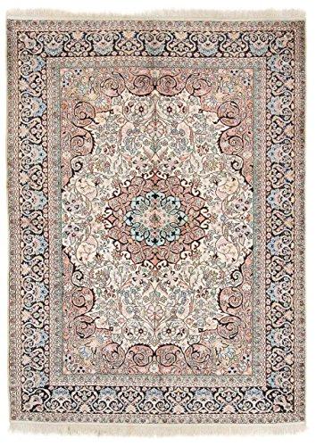 CarpetFine: Kaschmir Seide Teppich 70x103 Blau,Rot,Schwarz - Handgeknüpft - Geometrisch - Kaschmir-schwarz-teppich