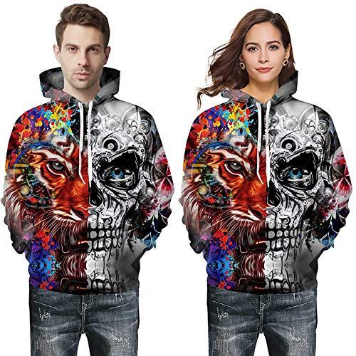 AFYH Paar Pullover, Halloween Hoodie, Pullover, Sweatshirt, Doppel-Pocket-Pullover, Lose/Mode, Polyester, Komfort/Freizeit/Feld,3XL (Weiblichen Top Halloween-kostüme)