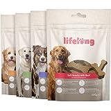 Marchio Amazon - Lifelong - Snack per cani, ricco di proteine -selezione mista - agnello, anatra, tacchino e manzo (4 confezi