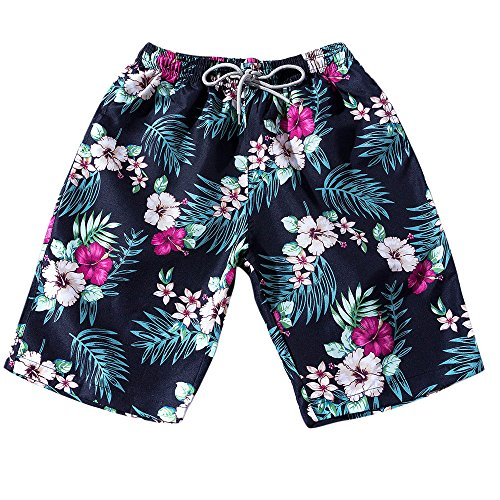 Beikoard pantaloni a zampa di elefante uomini coppie beach floral bohe pantaloncini da bagno trunks pantaloni taglie forti(blue,l)