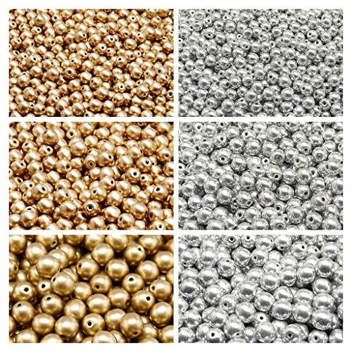 Gepresste tschechische Glasperlen, Runde 3 mm, 4 mm, 6 mm, Zwei Farben. Set 2CRP 601 (3RP113 3RP021 4RP008 4RP060 6RP1174 6RP037) -