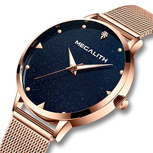 Reloj Mujer Relojes de Señoras Impermeable Lujo Luminosos Acero Inoxidable Oro Rosa de Malla Relojes de Pulsera para Mujeres Delgado Analógico Dial de Mármol Azul Genuin