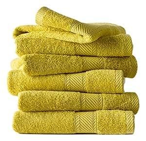 De witte lietaer 194842 set of 6 mustard yellow cotton for Mustard bathroom accessories uk