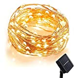[100 LED 33 Feet ] Solar Fairy Lights, Comwinn Starry String Lights,10 Meters, Waterproof, 1.2 V, Portable, with Light Sensor, for Gardens, Homes, Dancing,Wedding, Party, Party, Magical Lighting Decor for Indoor, Bedroom Window, Outdoor Blossom String Lights (Warm White)