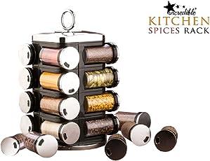 incredible (Jony) Premium Multipurpose Revolving Plastic Spice Rack 16 Piece Condiment Set - Metallic Siver Finish