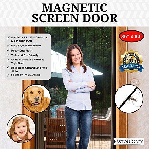 Easton grau Magnetverschluss Bildschirm Tür mit Heavy Duty Black Mesh Vorhang und Full Frame Klettverschluss-Passt Tür Größe bis 86,4x 208,3cm Max-12Monate Ersatz Garantie, schwarz