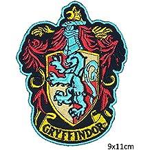 Casa de plata base de Gryffindor Harry Potter Hogwarts casa escudo rojo de color marrón | bordado de alta calidad Hierro en parche bordado para coser en insignias para ropa chaquetas camisetas abrigos bolsas sombreros Wallets