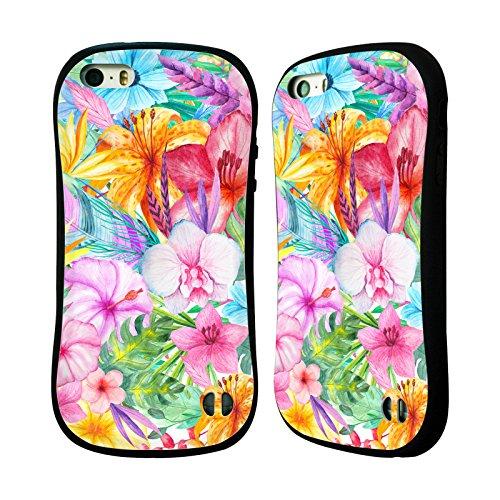 Ufficiale Haroulita Fiori Tropicali Piume Case Ibrida per Apple iPhone 7 Plus / 8 Plus Fiori Colorati