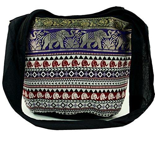Borsa Sadhu Guru-shop, Il Sacchetto Di Spalla, Sacchetto Hippie Ikat - Nero, Uomini / Donne, Il Cotone, 35x45x20 Cm, Sacchetti Di Stoffa Colorata Nero / Colorato