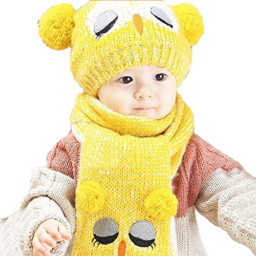 ALCYONEUS Baby Kids Girls Owl Mütze Winter Mütze Mütze Schal Set (Gelb) (Owl-hut-schal)