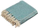 Hoy Deals - 65 'SouvNear Southwest mantas - hecha a mano 100% algodón manta - Costa azul y blanco - reversible con flecos para sofá - muebles de decoración para el hogar