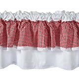 Unimall Check Thermal Short Curtains Window Valance 100% Cotton Gingham Kitchen Cafe Nets Curtains, Pink White