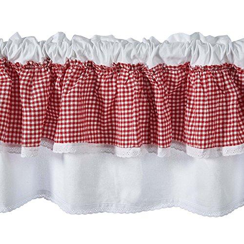 Unimall 4448568 Scheibengardine Küchengardine Kurzstore B x H: 150 x 40 cm Shabby chic Rot- Karo