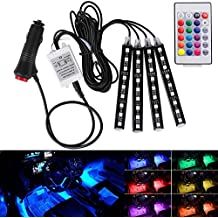 Hrph Mando a distancia inalámbrico de voz de control de coche RGB LED Neon Interior luz de la lámpara de la tira de luces decorativas