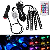 Hrph 4in1 Car Interior RGB LED Strip,Wireless Remote Control Car RGB LED Neon Interior Light (#9LED, seven color)