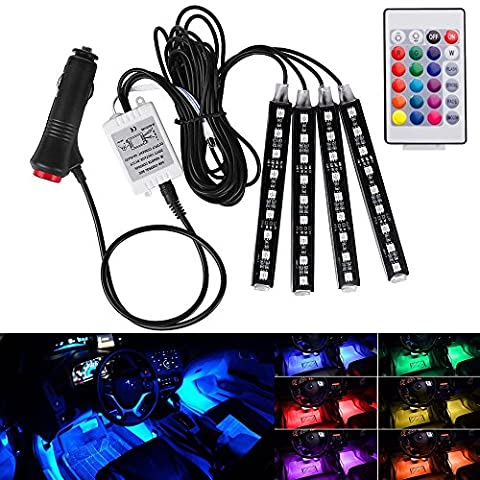 Hrph 4in1 Car Interior RGB LED Strip,Wireless Remote Control Car RGB LED Neon Interior Light Lamp Strip Decorative Lights