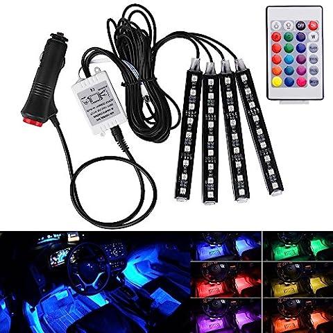 Hrph 4in1 Car Interior RGB LED Strip,Wireless Remote Control Car RGB LED Neon Interior Light (#9LED, seven color)