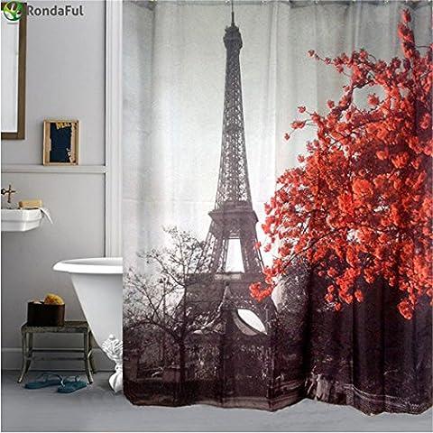 byce Torre Eiffel e fiori tenda doccia impermeabile 182,9x 182,9cm, paesaggio urbano rosso tessuto di (Berry Water Garden)