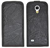 MTT Suncase Pochette en cuir pour Samsung Galaxy S4 mini i9195 Étui à rabat Noir délavé