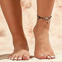 Fairvir - Cavigliera Boho con stella marina nera, con ciondolo a forma di tartaruga, corda ondulata e perline da…