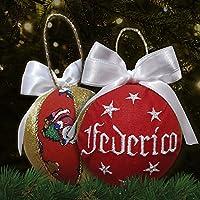 Crociedelizie, pallina di Natale con nome ricamato decorazione natalizia personalizzabile rosso bianco e lurex oro dorato idea regalo