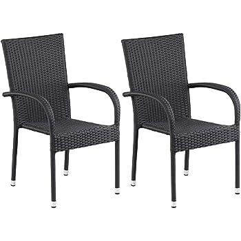 Amazon.de: dasmöbelwerk Polyrattan Sessel Stuhl stapelbar Rattan ...