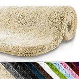 Badematte | kuscheliger Hochflor | rutschfester Badvorleger | viele Größen | zum Set kombinierbar | Öko-Tex 100 zertifiziert | 80x150 cm | Creme Beige (beige)