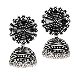Jaipur Mart Oxidised Silver Plated Handmade Jhumki Earrings For Women