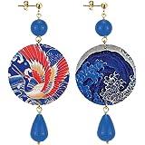 IN Lebole Collezione The Circle DOR185 Airone Orecchini da Donna in Ottone Pietra Blu
