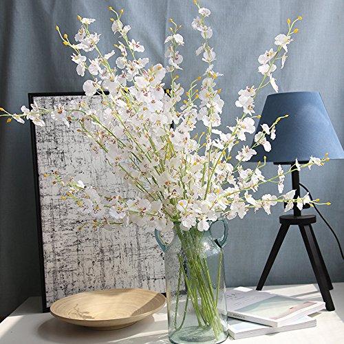 MDenker Kunstblumen & Pflanzen,Unechte Blumen Kunstpflanze Orchidee weiß-Creme mit Übertopf aus Keramik braun 100 cm hoch
