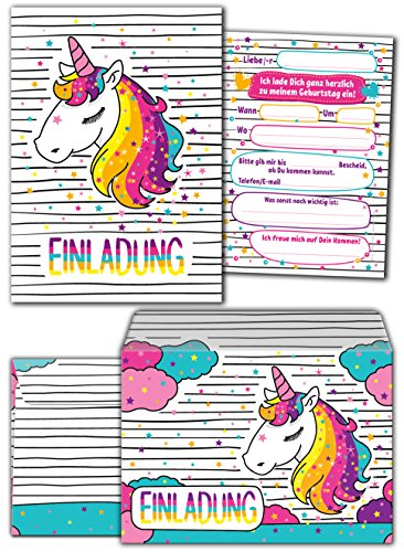 JuNa-Experten 12 Einladungskarten zum Kindergeburtstag für Mädchen Einhorn incl. 12 Umschläge / Unicorn / Einladungen / schöne und Bunte Geburtstagseinladungen (12 Karten + 12 Umschläge)