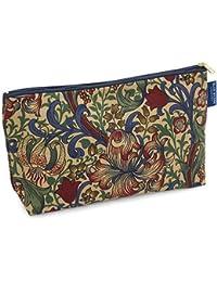 Blue Badge Company–Funda de algodón artículos de tocador Wash Bag con forro impermeable, William Morris Golden Lily