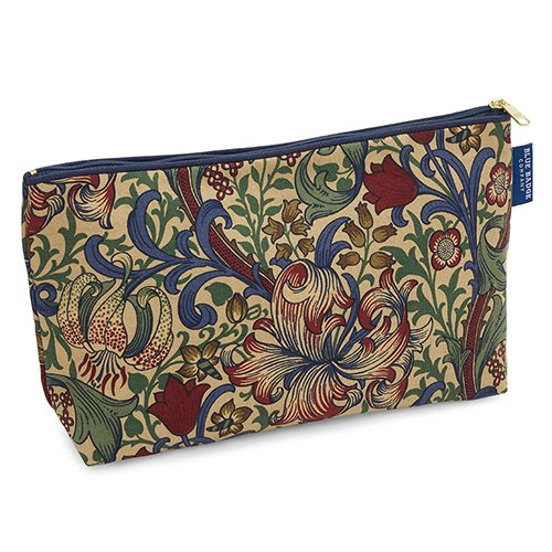 - 61TvLlMhYIL - Blue Badge Company Luxury Cotton Toiletries Case Wash Bag with Waterproof Lining, William Morris Golden Lily