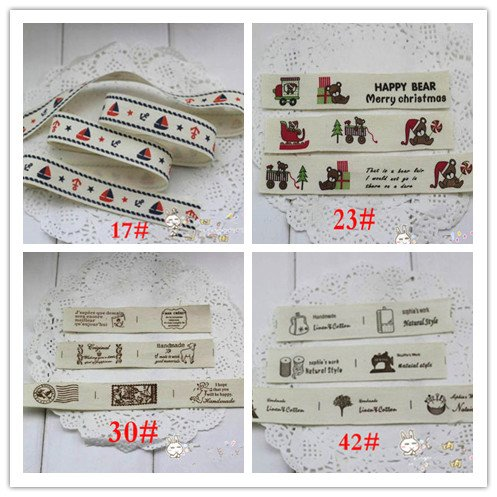 Generic Design17 : 5 meter Zakka Handmade Printed Label Woven Label Cotton Webbing/ Ribbons Labels For Craft Sewing Trim Free shipping