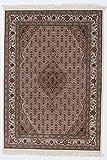 Nain Trading Indo Täbriz 203x143 Orientteppich Teppich Dunkelbraun/Lila Handgeknüpft Indien