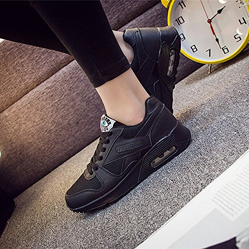 Peggie House Baskets Chaussures Jogging Course Gym Fitness Sport Lacet Sneakers Style Running Multicolore Respirante Femme Noir