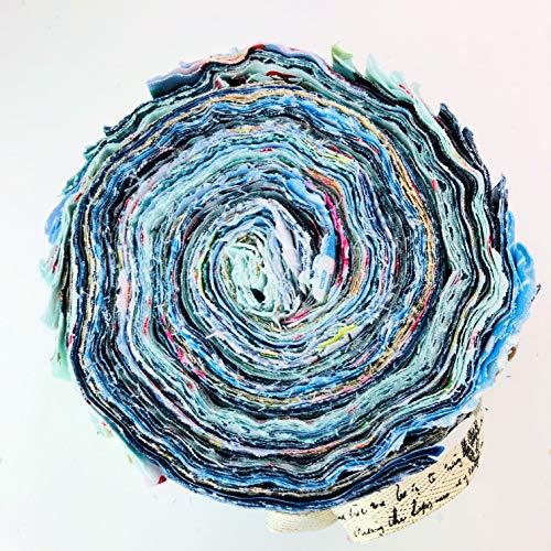 Lucky Dip 100% Baumwolle Jelly Roll blau (42 Streifen mittelschwer) -