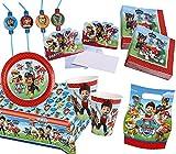 113-teiliges * PAW PATROL * PARTY SET für einen Kindergeburtstag mit 8 Kindern: Teller, Becher, Servietten, Einladungen, Partytüten, Tischdecke, Trinkhalme, Luftschlangen, Luftballons, u.v.m.