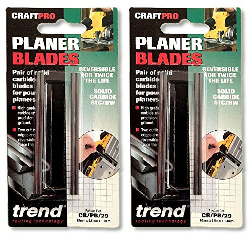 Twin pack of Trend Planer Blade Set x 2 82mm fits Makita