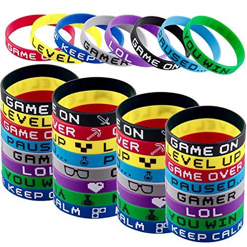 SIQUK 80 Stück Silikonarmbänder Bedruckt Silikon Armband für Teenager Kinder Party Geschenk 8 Stile
