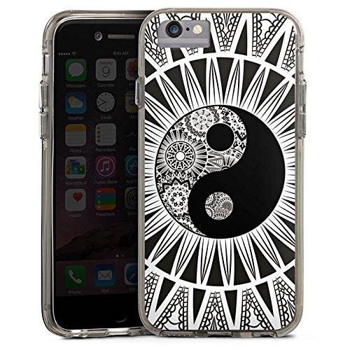 Apple iPhone 6s Bumper Hülle Bumper Case Glitzer Hülle Schwarz Weiss Black White Muster Bumper Case transparent grau
