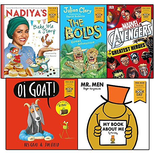 nadiya's bake me a story, my book about me by mr silly, marvel avengers the greatest heroes, oi goat and the bolds' great adventure world book day 2018 collection 5 books set