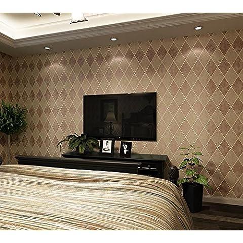Carta da parati Retro stereo a forma di diamante non-tessuto carta da parati comodino TV sfondo muro camera da letto scura gettando tappezzeria da parete a parete , zhu red 20805