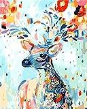 CaptainCrafts Neu Malen Nach Zahlen Künste 16x20 für Erwachsene Anfänger Kinder, Kinder Leinwand - Formatieren Sie Eine Vielzahl von Tier Bunte Hirsch Serie (mit Rahmen, Gemaltes Hirsch)